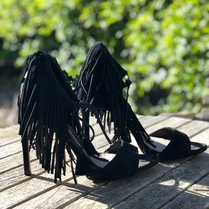 Zara Black suede Fringe heels
